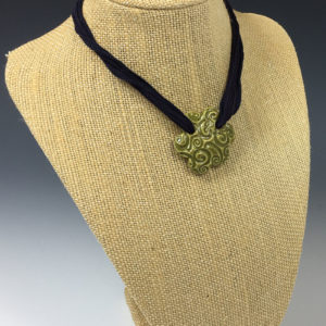 Green Swirly Flower Necklace